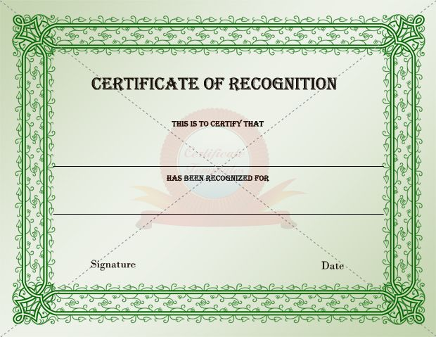 1000 images about RECOGNITION CERTIFICATE TEMPLATES – Certificate of Recognition Samples