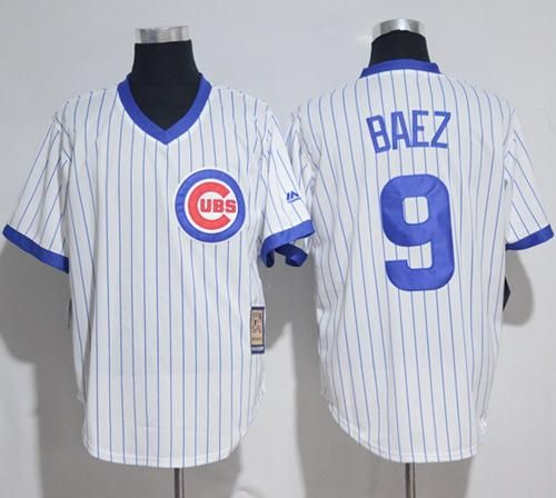 Cubs  9 Javier Baez White Strip Home Cooperstown Stitched MLB Jersey ... 252a78454