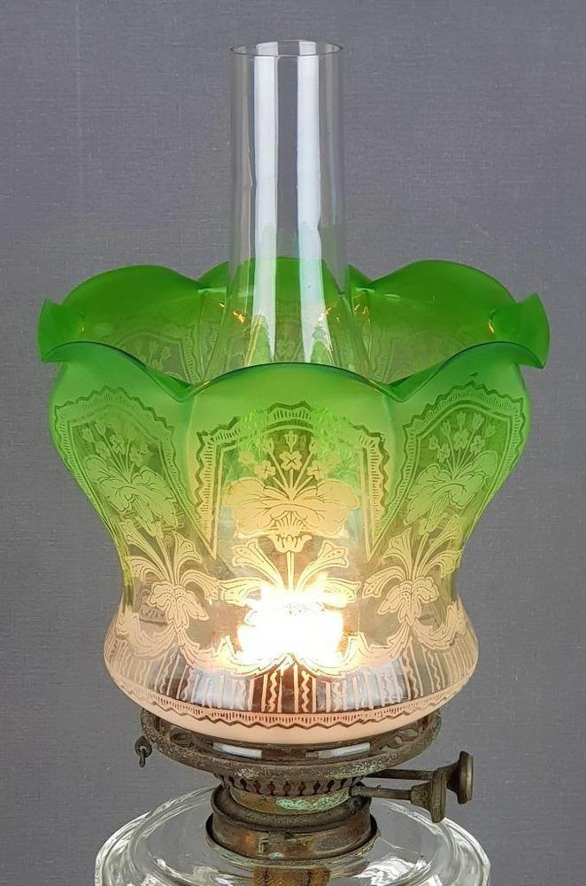 Original green etched glass duplex kerosene paraffin oil lamp shade original green etched glass duplex kerosene paraffin oil lamp shade art nouveau mozeypictures Gallery