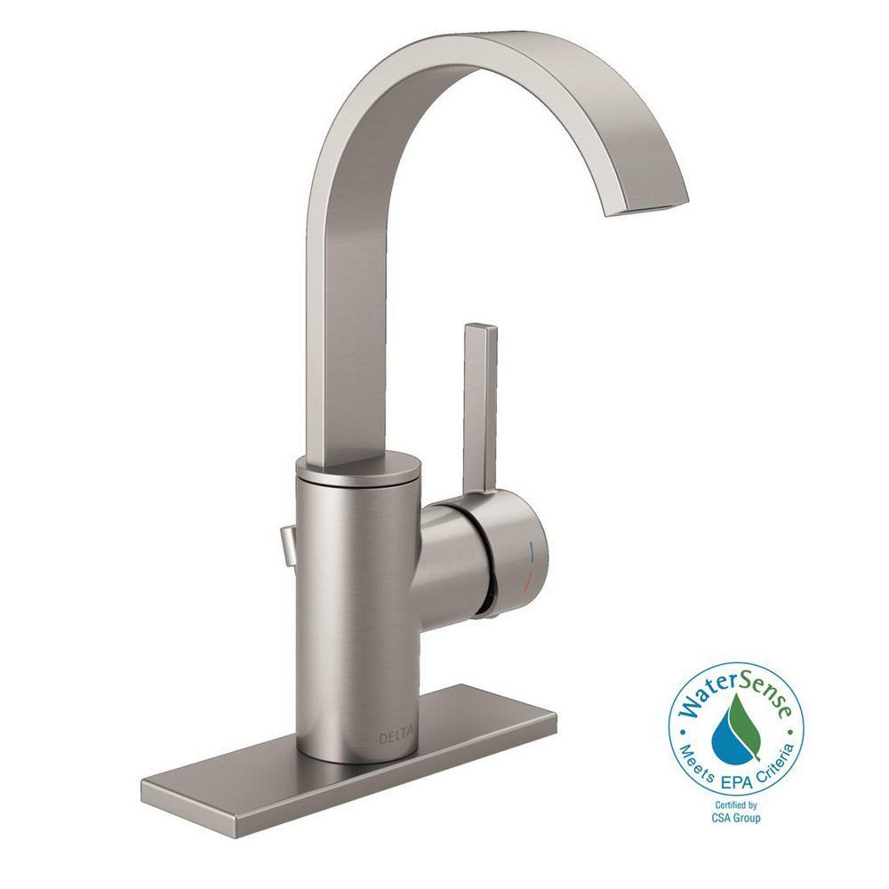 Centerset Single Handle Bathroom Faucet In Spotshield Brushed Nickel And