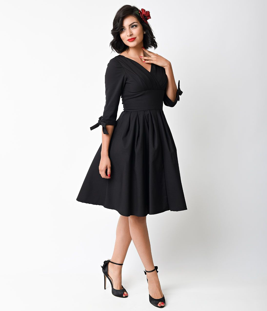 Black dress quarter sleeve - 1950s Rockabilly Dresses And Clothing