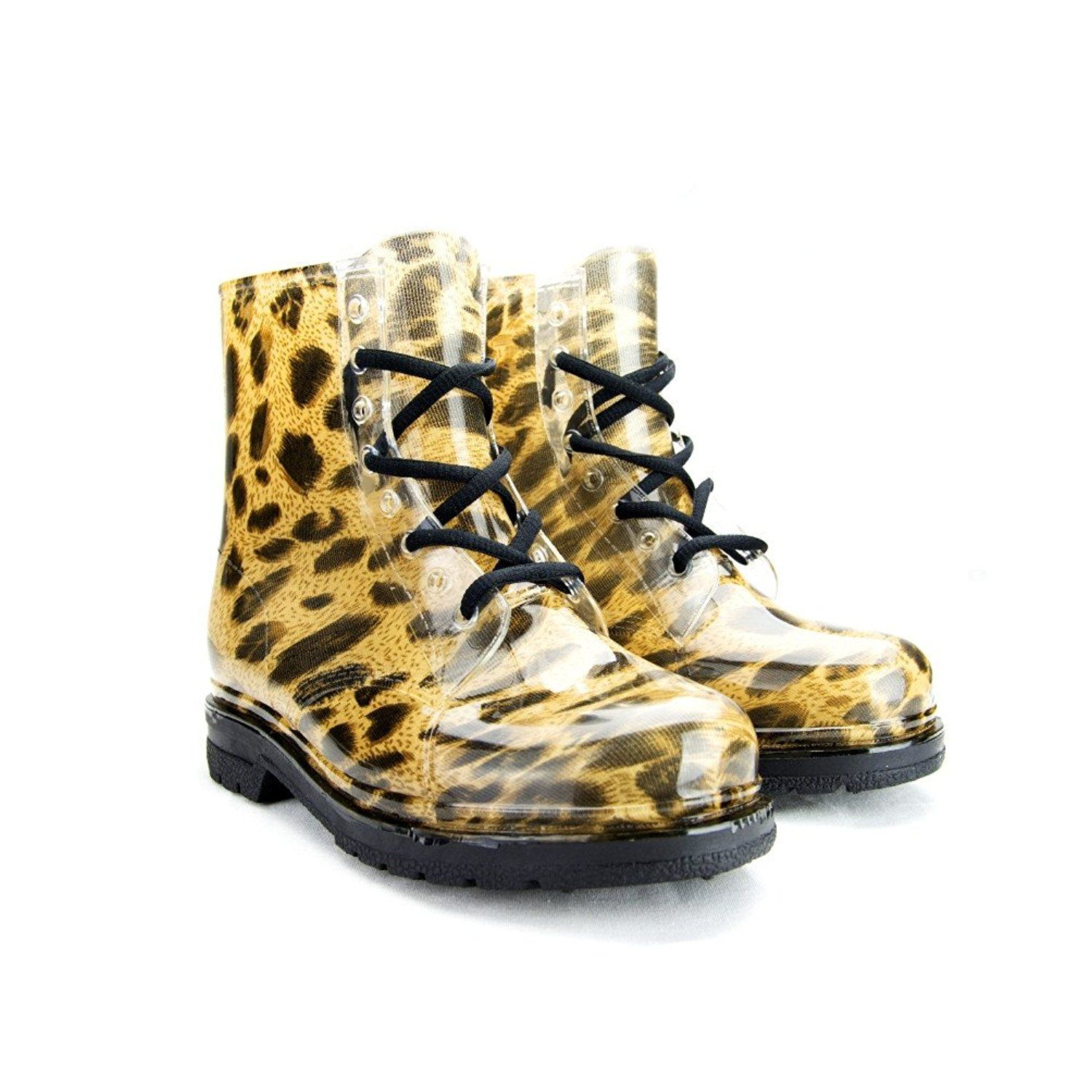 Women's Ankle Flat Leopard Transparent Clear Jelly Martin Rain Boots (9 B(M) US)