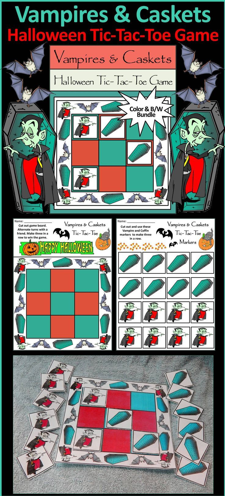 Halloween Activities:Vampires & Caskets Halloween Tic-Tac-Toe Game ...
