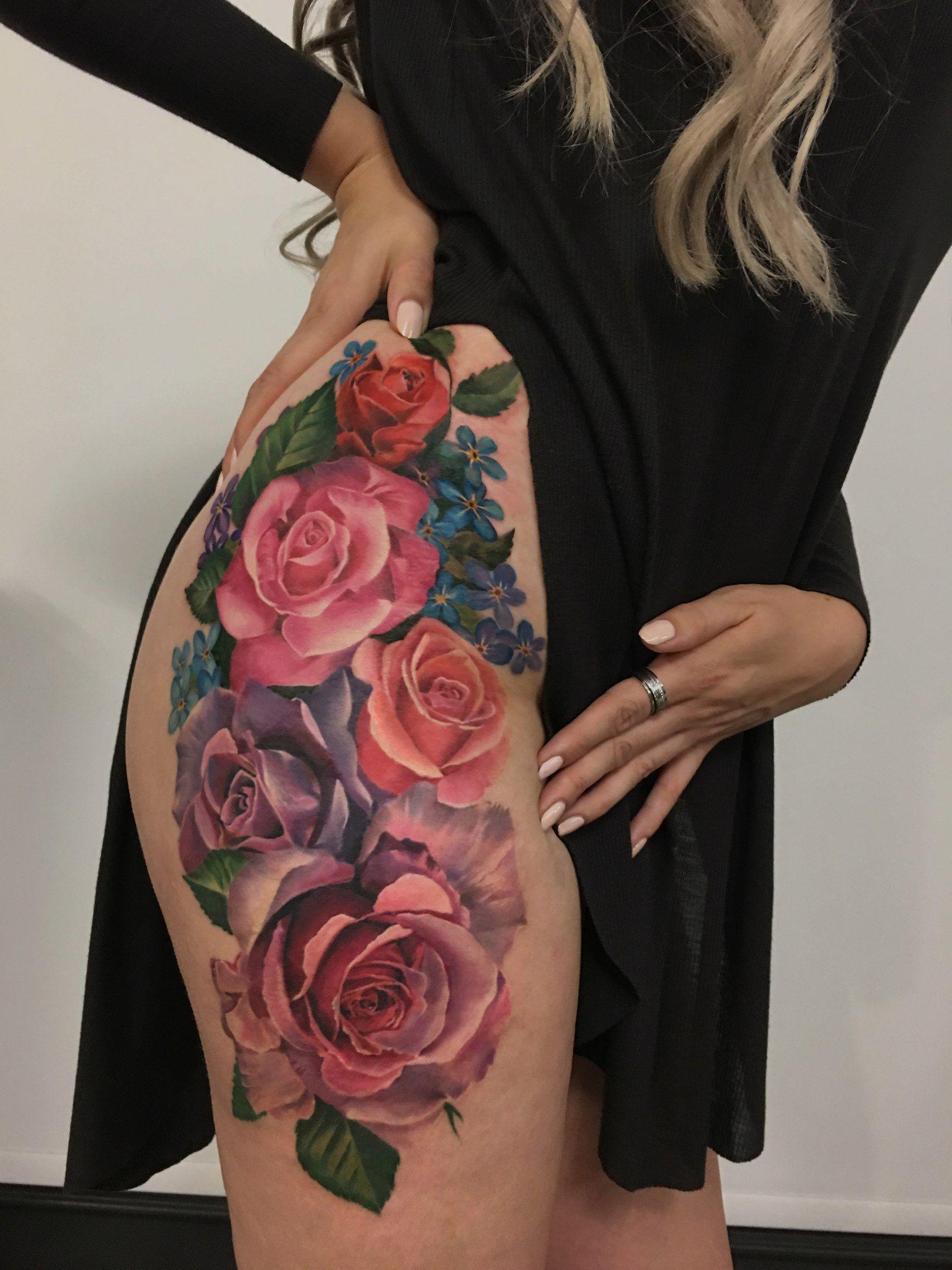 Flower Tattoo On Thigh New School By Antonina Troshina Flower Thigh Tattoos Thigh Tattoo Designs Thigh Tattoo