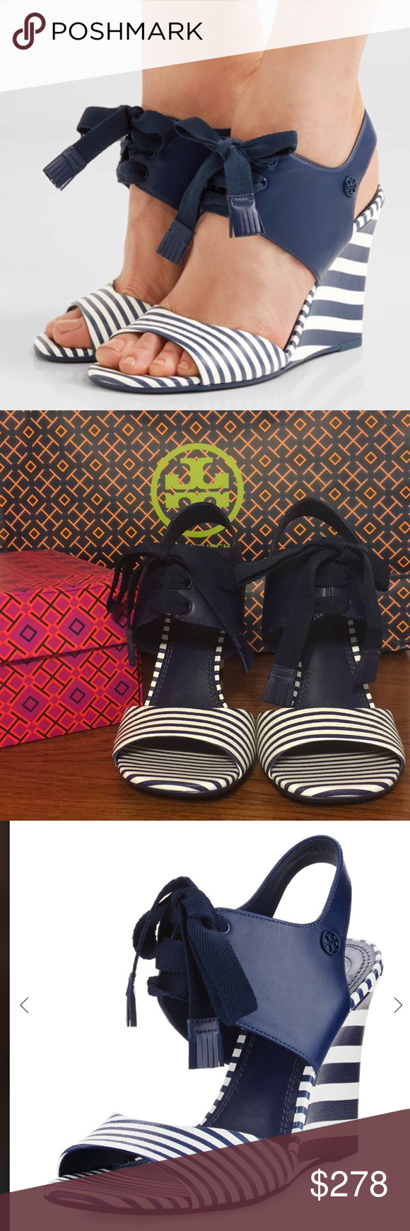 b134216f926 NIB Tory Burch Maritime Striped Wedge Sandal Tory Burch Maritime blue and  white leather sandal with