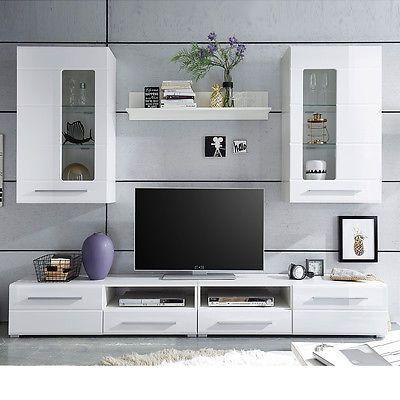 Ebay Angebot Wohnwand Enrique 2 Wohnzimmer Anbauwand Front weiß - wohnzimmer weiß hochglanz