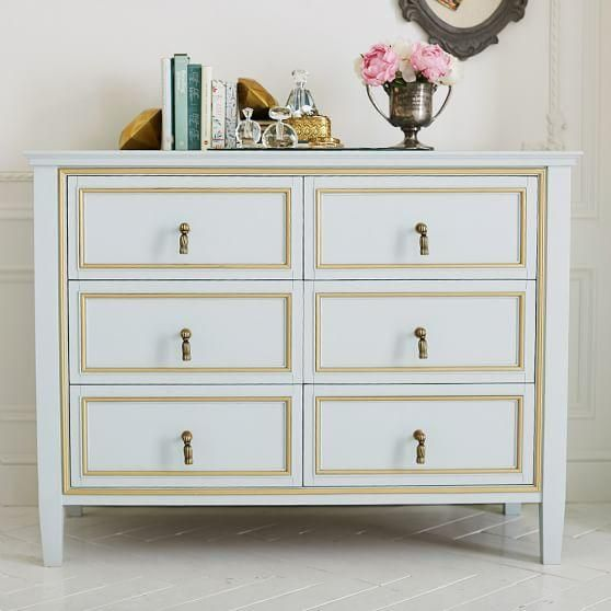 White and Gold Six Drawer Tassel Pulls Wide Dresser Bedroom