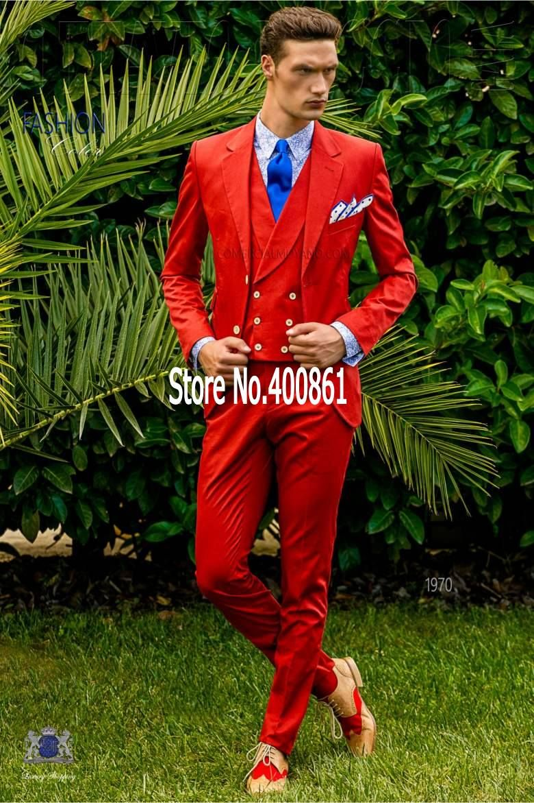 Click to buy ucuc new arrivals red mens dinner party prom suits groom