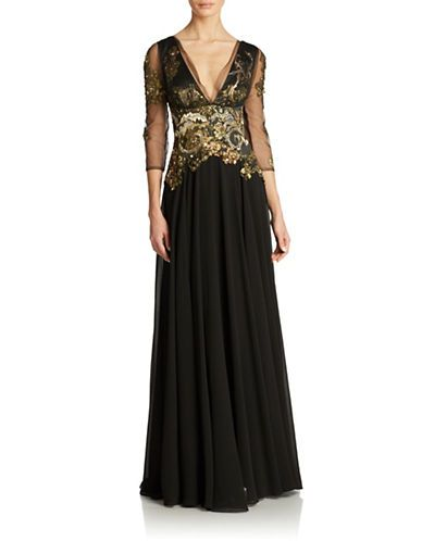 Sheer Lace And Jewelled Floor-Length Gown | Lord and Taylor