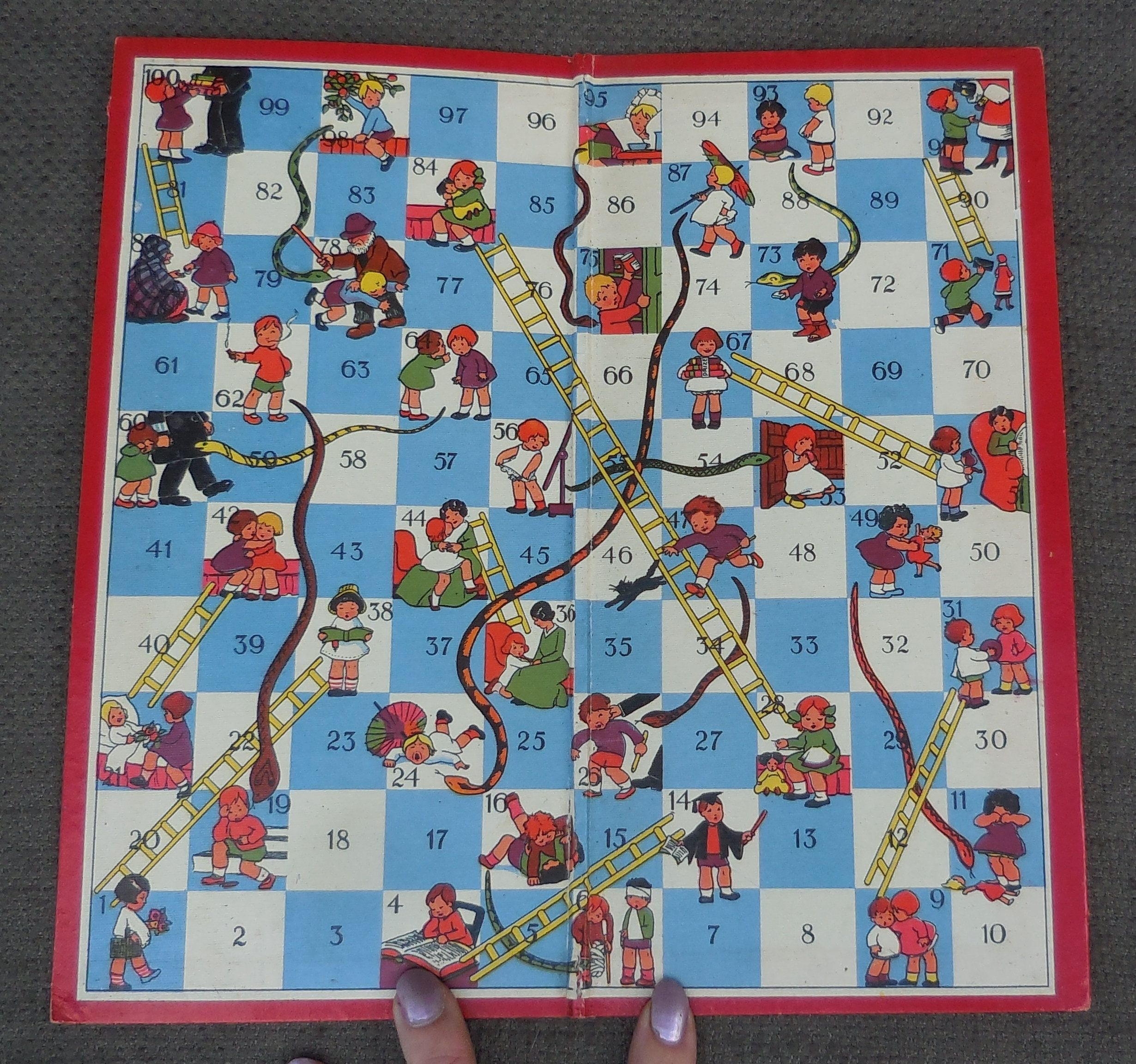 1930s snakes and ladders game board by spears