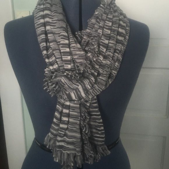 Lightweight cotton and spandex scarf. Blue/gray and white scarf. Soft stretchy feel. Looks great with t-shirt. Accessories Scarves & Wraps