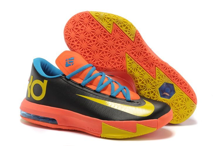 premium selection d588a cf6d6 Nike Zoom Kevin Durant KD 6 Black Orange Blue Yellow Basketball Shoes