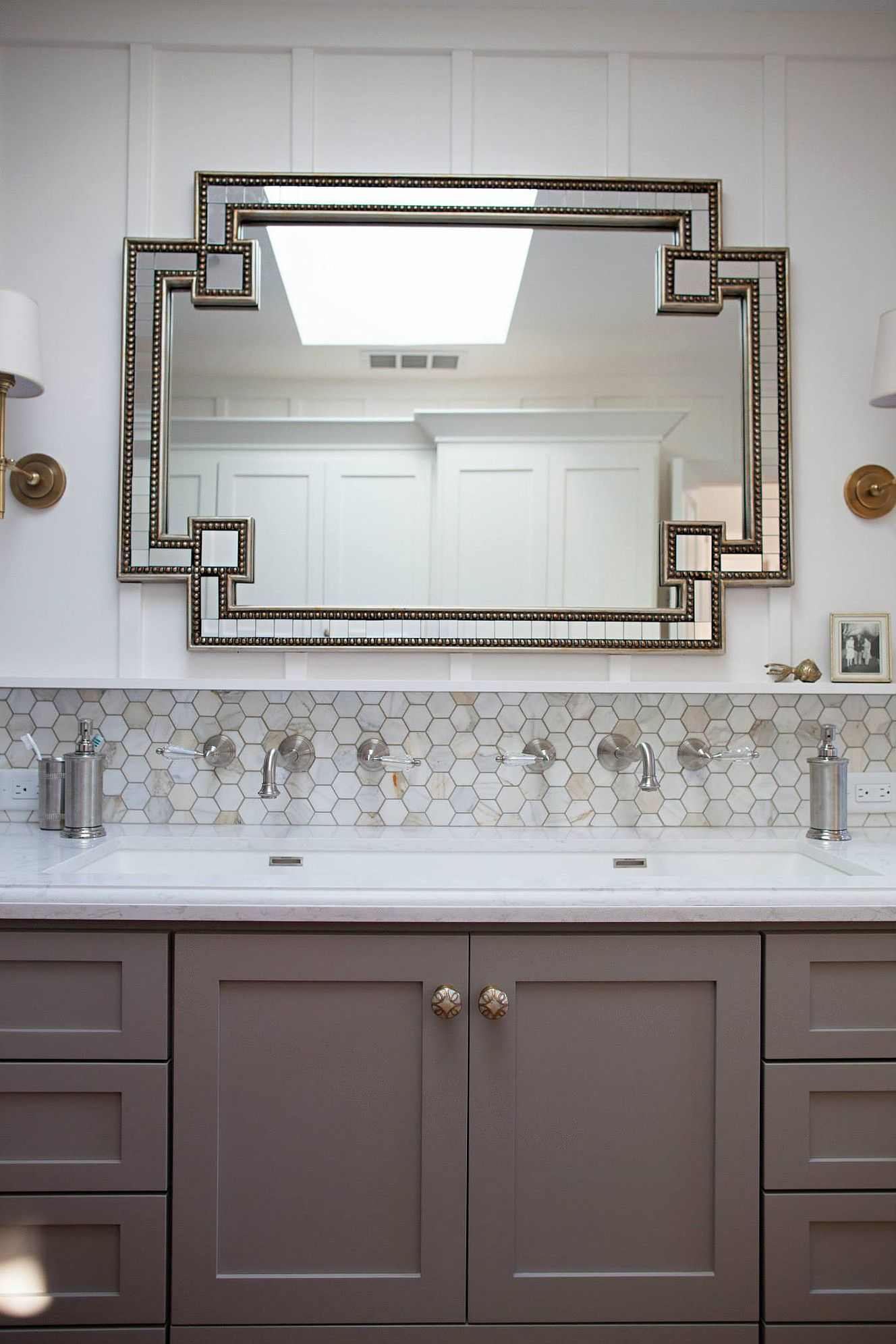 kbgdesign eclectic bathroom master bath trough sink white