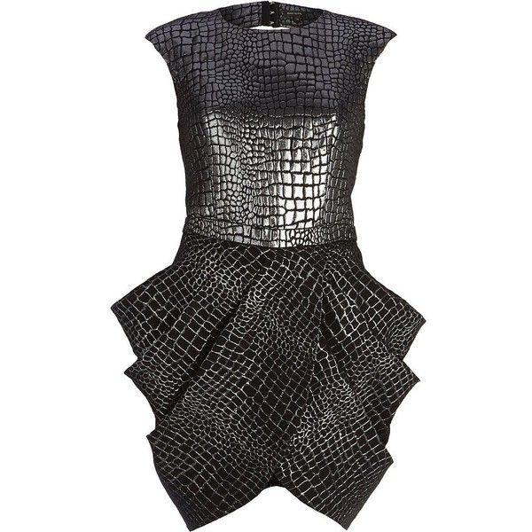 River Island Black metallic croc print tulip dress (£60) found on ...