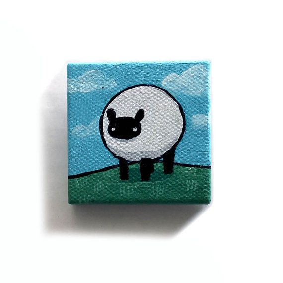 Sheep Painting Miniature Original Farm Animal Tiny Canvas Acrylic Wall Art by Karen Watkins kmwatkins on Etsy Farm Animals