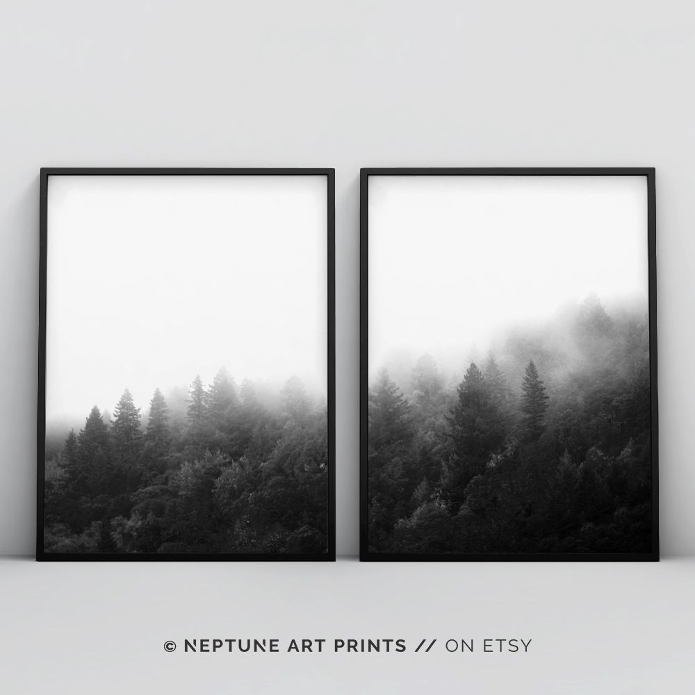 Forest Art 2 Piece Forest Printable Black And White Forest Minimalist Landscape Trees Fog Top Selling Nature Photography Prints Set Minimalist Landscape Natural Home Decor Minimalist Decor