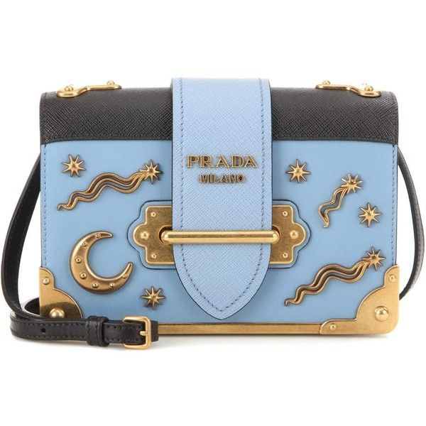 72f89a7a1f7c ... Cahier embellished blue and black leather shoulder bag pretty nice  d1c62 f32c5  Prada ...
