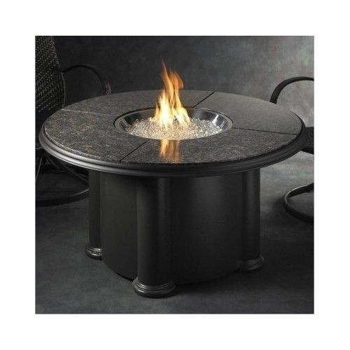 Fire Pit LP Outdoor Table w/British Granite Top Lazy Susan NEW Free