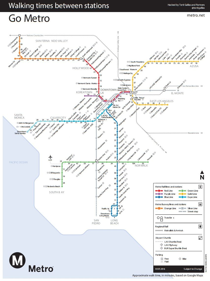 Los Angeles Subway Map New.New Map Shows Walk Time Between L A Metro Stations Streetsblog