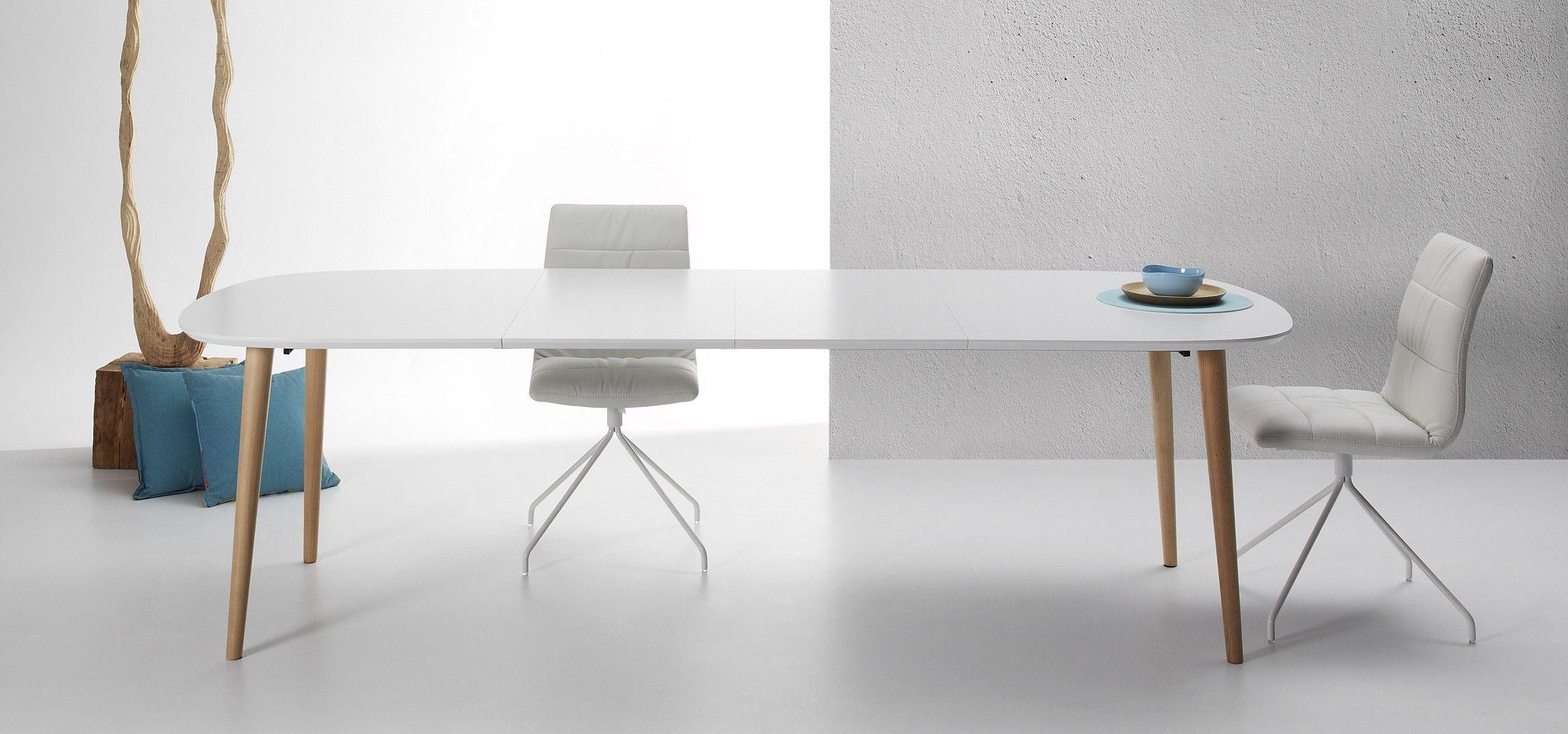 Table Oqui extensible ovale 160 260 cm naturel et blanc