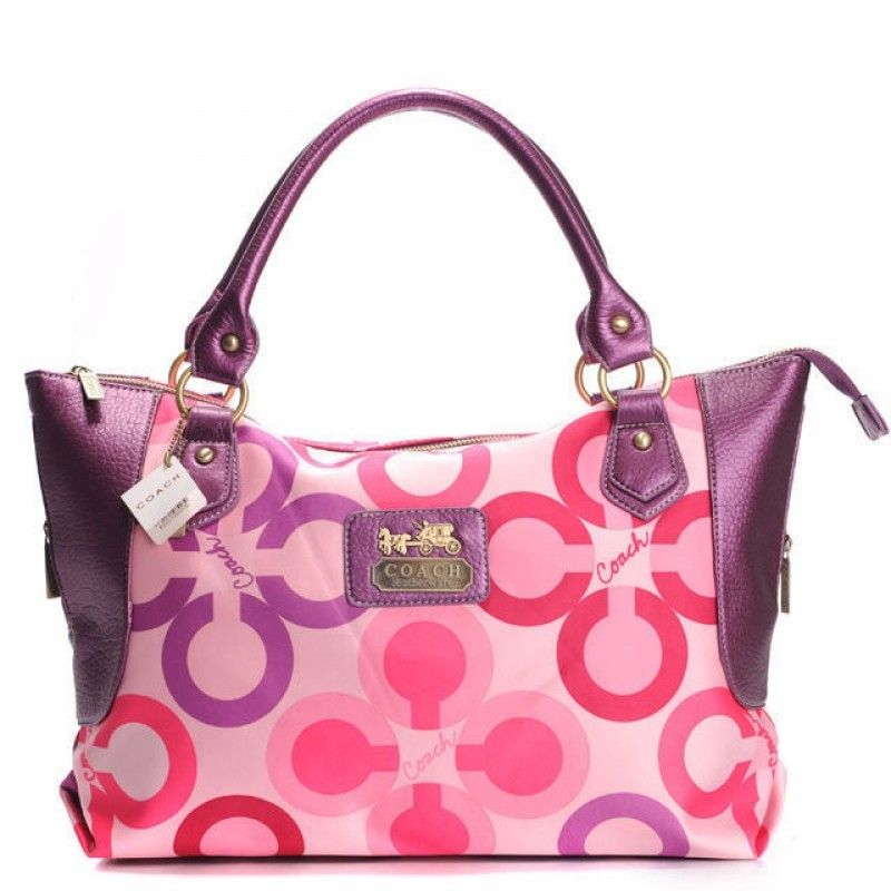 Coach Outlet Totes with Purple Leather and Pink C Logo
