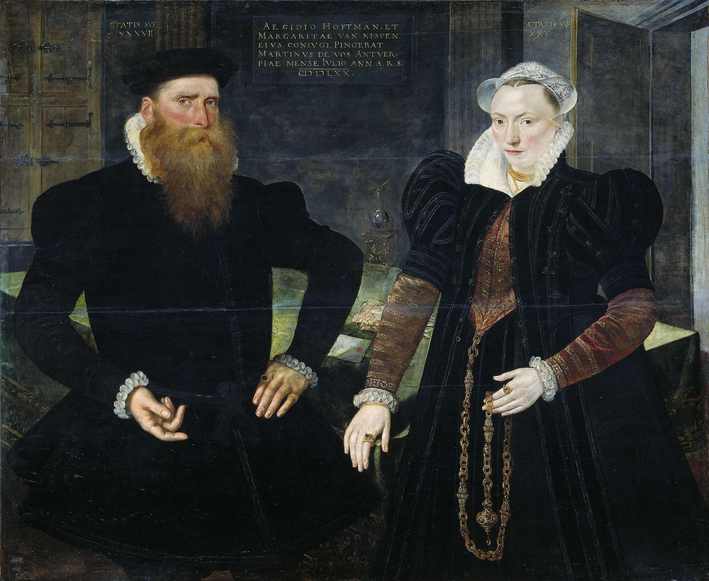 Portrait of Gillis Hooftman, Shipowner, and his Wife Margaretha van Nispen (Gilles van Eichelenberg, called Hoffman), Maerten de Vos, 1570