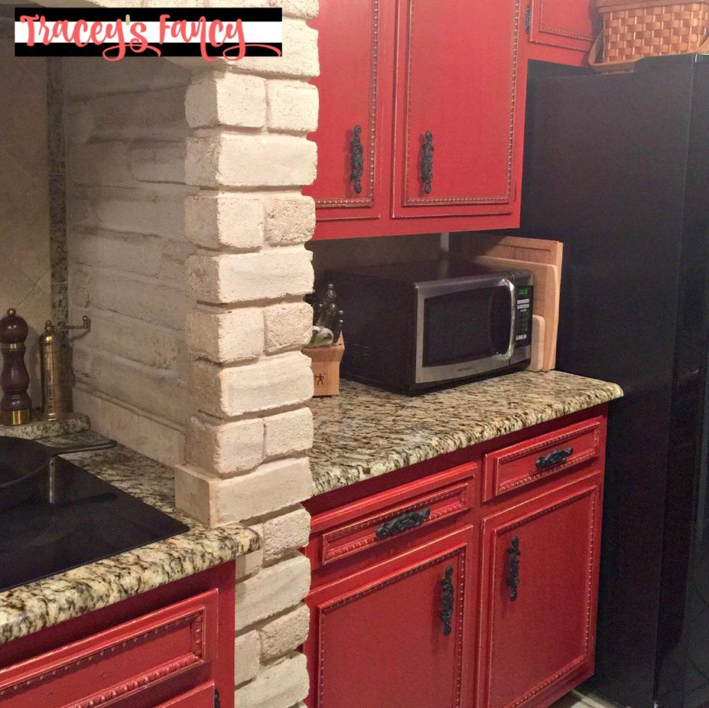 Diy Painted Red Cabinets In The Kitchen Tracey S Fancy Red Cabinets Red Kitchen Cabinets Kitchen Cabinets