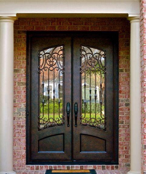 Clark Hall Doors Entry Doors Hand Carved Wood And Wrought Iron - Wrought iron front door