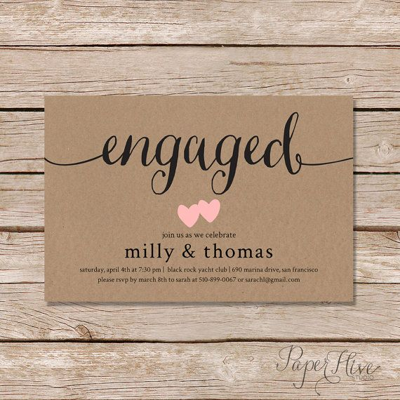Watercolour Engagement Invitation Print At Home File or Printed – Engagement Party Invitations Etsy