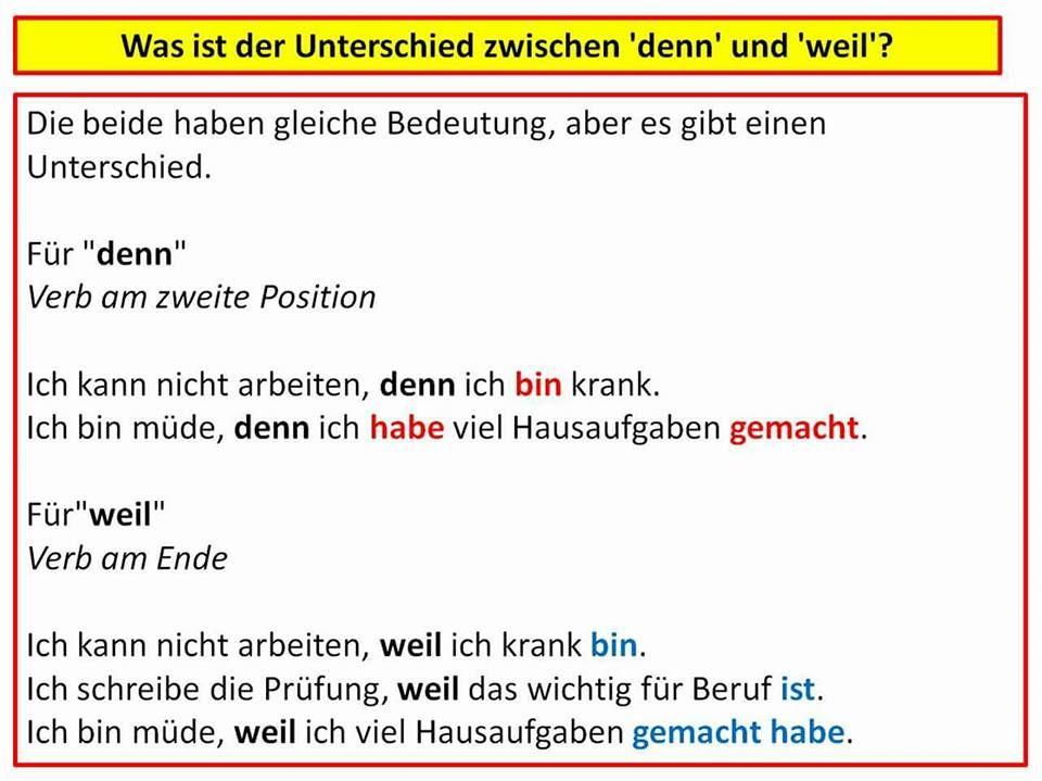 Was ist der Unterschied zwischen DENN und WEIL? | Német szavak ...