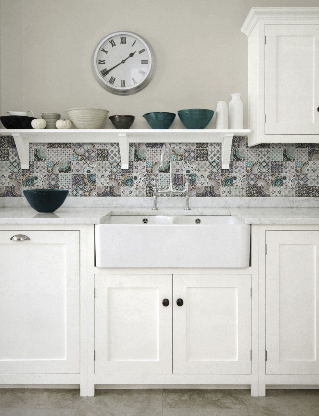 Beautiful Country Kitchen Backsplash Ideas Part - 11: Patchwork Backsplash For Country Style Kitchen Ideas - Homestead By  Artistic Tile