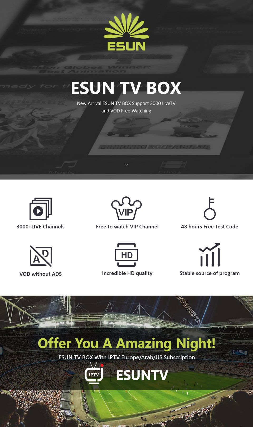 ESUNTV Xtream Panel IPTV Panel Support Android m3u enigma2