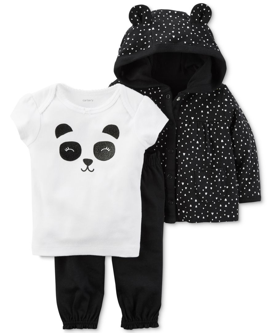 4927969e8 Carter's 3-Pc. Babysoft Cotton Hoodie, Panda T-Shirt & Pants Set, Baby  Girls (0-24 months)