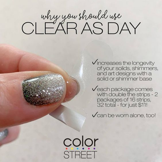 The clear polish strips are great because they make your polish strips last longer. #colorstreet #clear #nails #nailpolish