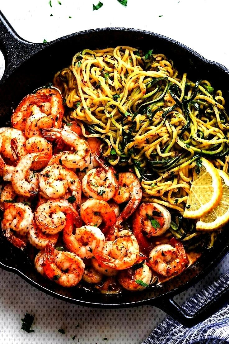 with zucchini noodles - This fantastic meal… - Club Pictures - 10 minute lemon garlic butter shr