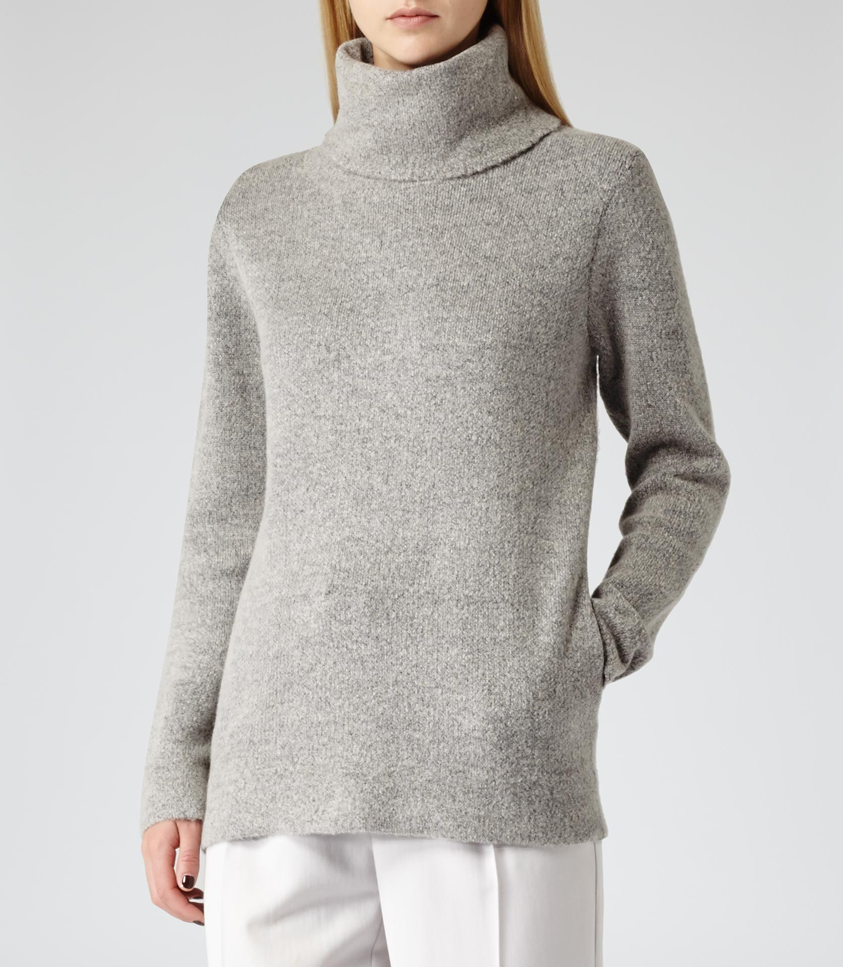 Womens Dove Grey Oversized Roll Neck Jumper - Reiss Sergant ...
