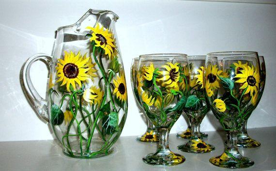 Pintadas en vasos de té y jarra girasoles 7 pieza juego de té 6 té gafas 1 jarra verano divertido flores mano pintado vino gafas amarillas