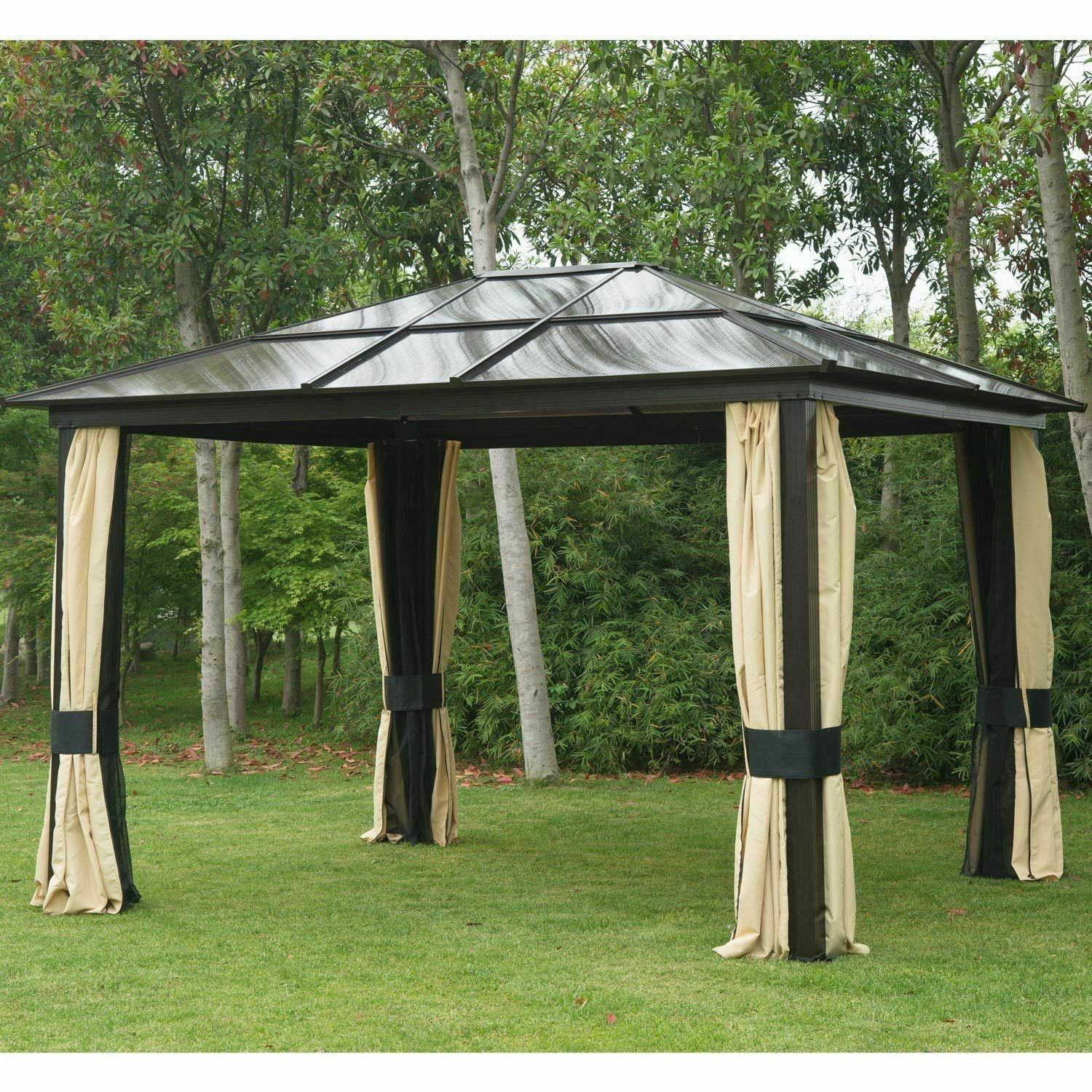 12 X10 Gazebo Canopy Net Hardtop Roof Steel Outdoor Patio Tent W Mesh Walls In 2020 Patio Tents Patio Canopy Gazebo