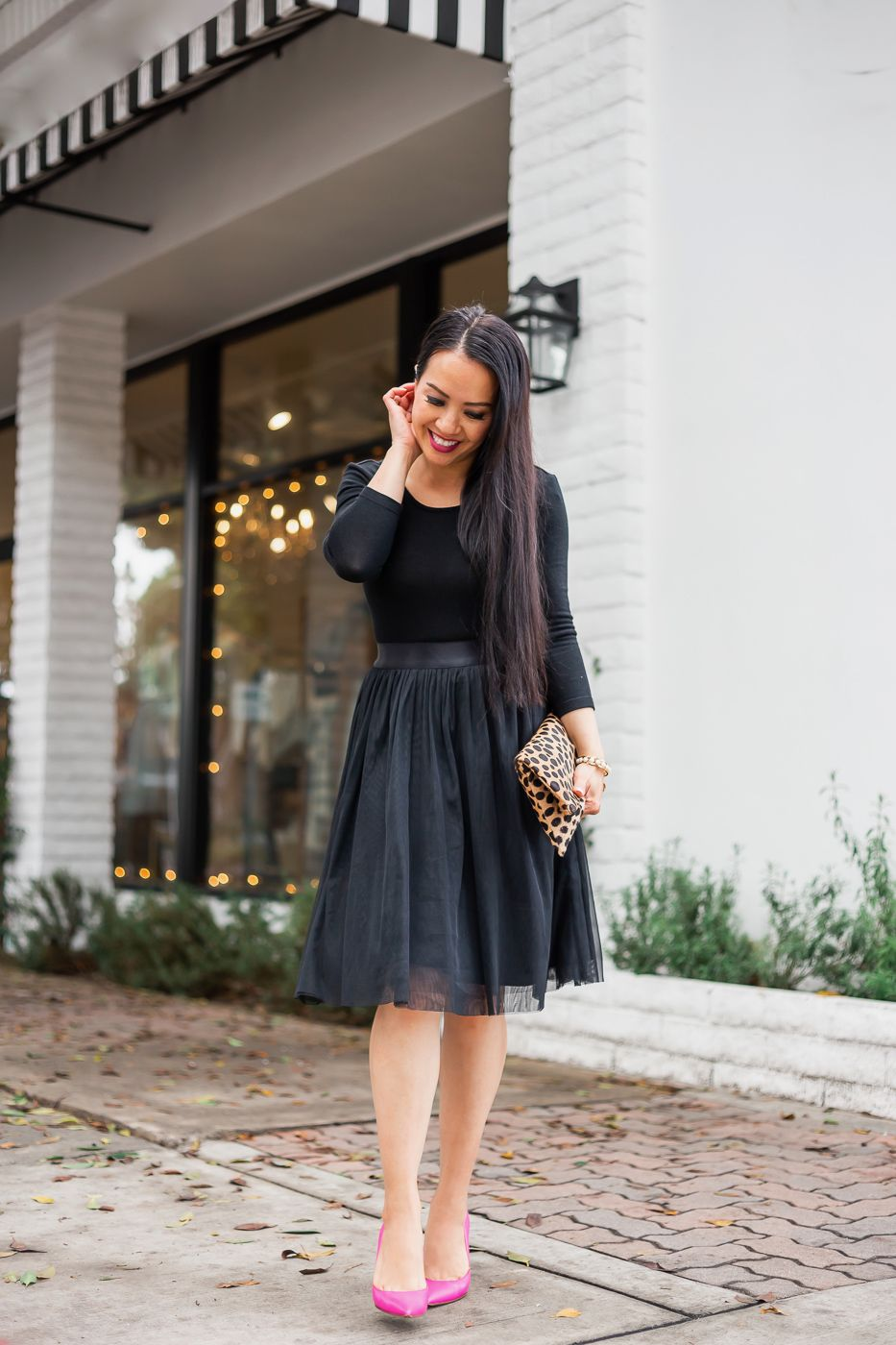 Black Tulle Skirt Dress Leopard Clutch Pink Pumps Stylish Petite Tulle Skirt Dress Black Tulle Dress Tulle Skirt Black [ 1400 x 933 Pixel ]
