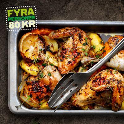 Rostade grönsaker med kyckling