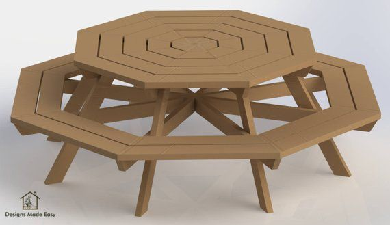 Octagon Picnic Table Easy Woodworking Design Plans