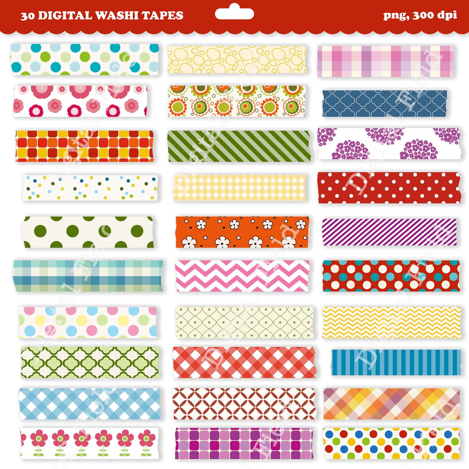 Imprimable Washi Tape Clip Art Set Clipart Num Rique