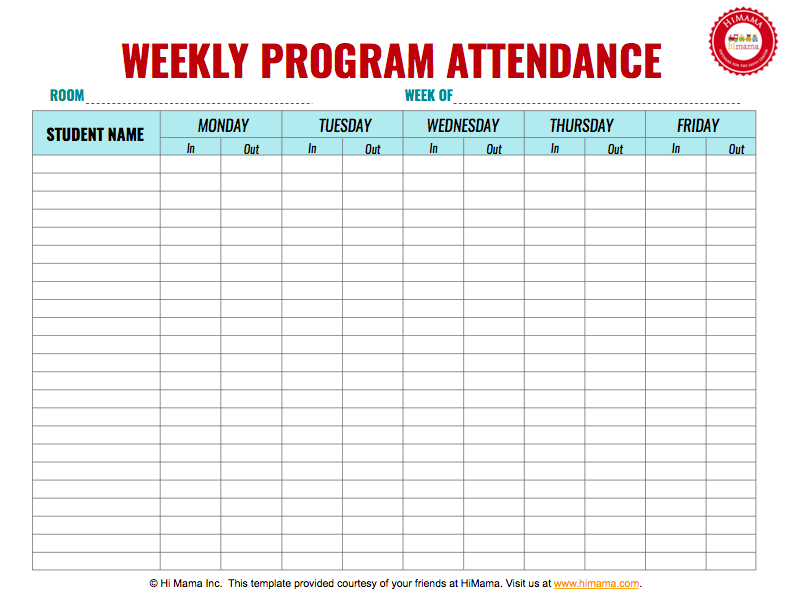 Attendance Spreadsheet Template Mesmerizing Daycare Sign In Sheet Template Weekly Mf  Daycare Forms .