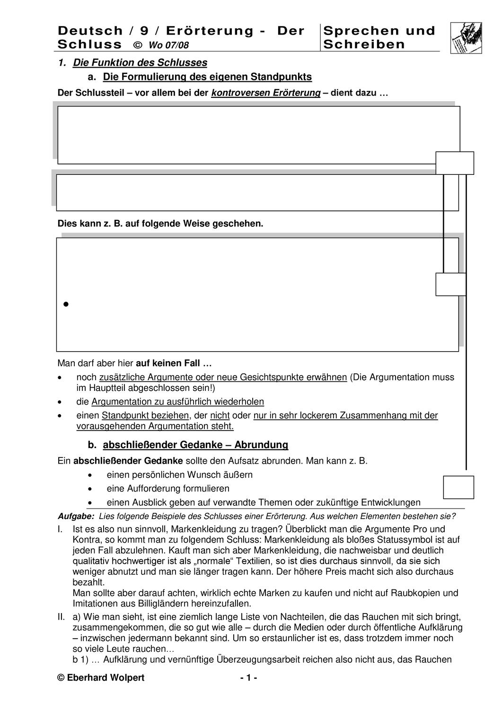 Erorterung Der Schluss Unterrichtsmaterial Im Fach Deutsch In 2020 Erorterung Deutsch Schreiben Lernen Erorterung Schreiben