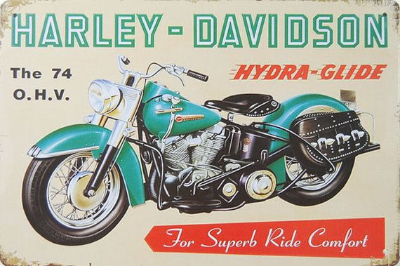 Harley Davidson Motorcycle The 74 O.H.V HydraGlide  by 66Retro, $9.99