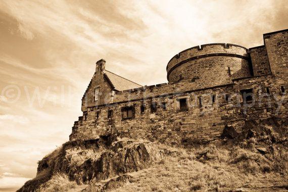Edinburgh Castle Scotland - Sepia 16x24 Canvas Gallery Wrap - by Wilhite Photography, $150.00