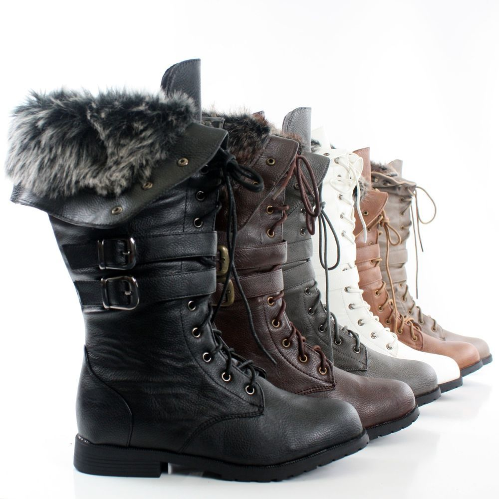 Details about Womens Winter Boots Combat Snow Military Lace Up ...