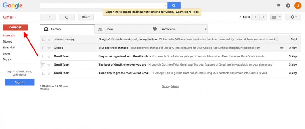 Gmail compose button screenshot Gmail, Adsense, Sent