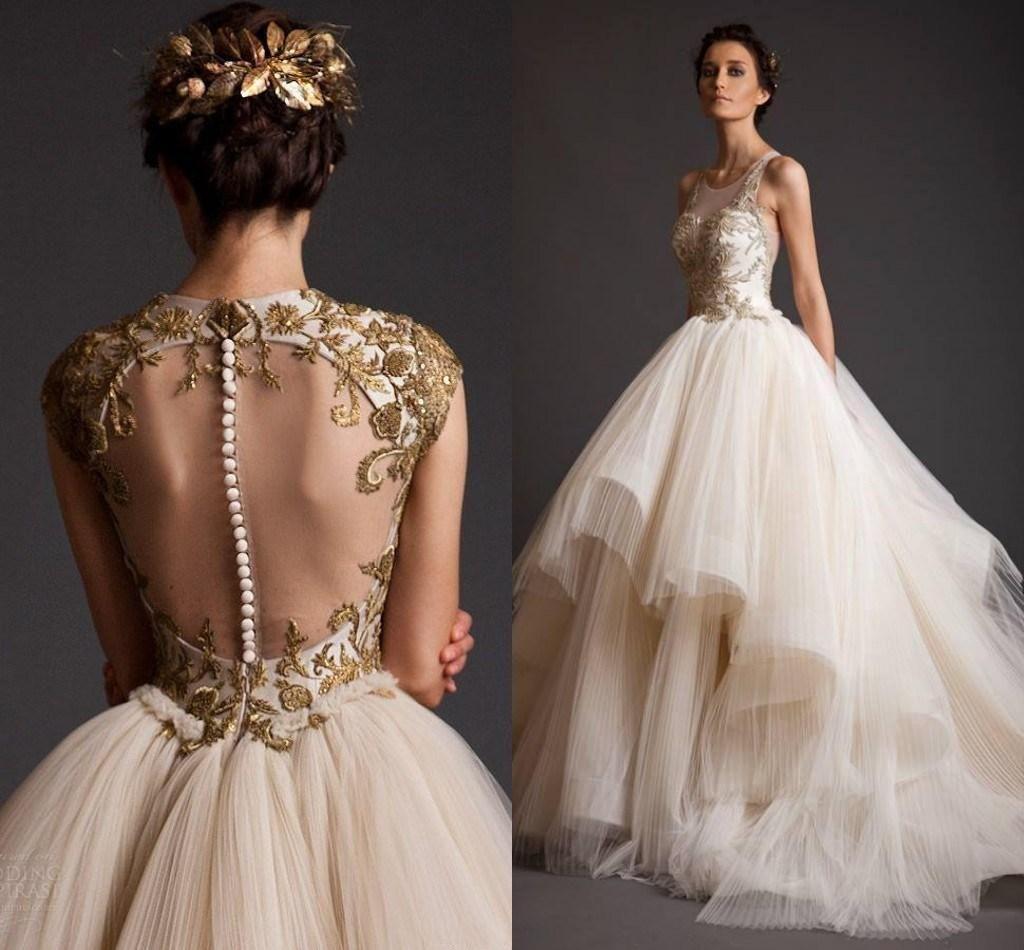 Gold Wedding Dress Tail Dresses 2016