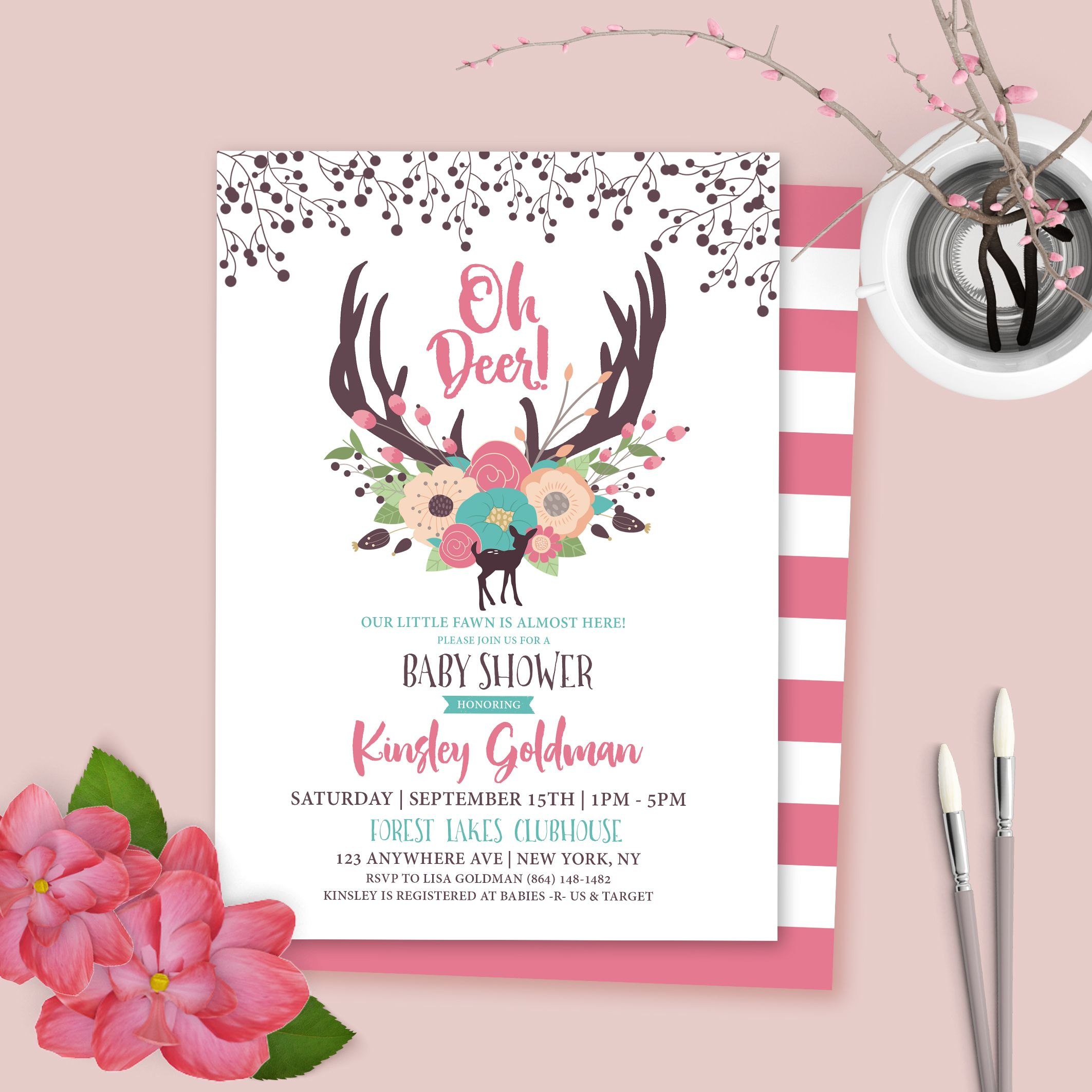 Oh Deer Baby Shower Invitation Baby Deer Floral Baby Shower